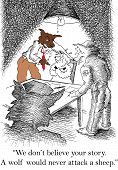 picture of gag  - Cartoon of wolf detective saying to sheep suspect - JPG