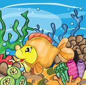 picture of goldfish  - Illustration of a happy goldfish cartoon character - JPG