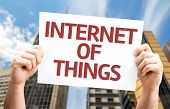 stock photo of plc  - Internet of Things card with urban background - JPG
