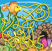 picture of school fish  - Maze game for kids  - JPG