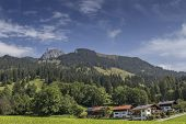 picture of bavarian alps  - View from a small vilage up to a mountain in the bavarian alps - JPG