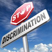 stock photo of racial discrimination  - stop discrimination no racism against minorities equal rigths no homophobia or gender discrimination - JPG