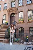 foto of west village  - Old houses with stairs in historic district of West Village
