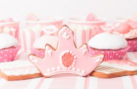 stock photo of sugarpaste  - dessert table in pink at girls  party - JPG