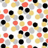 stock photo of color spot black white  - Ditsy vector polka dot pattern with random hand painted circles in white - JPG
