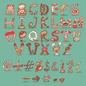 picture of freaky  - Cartoon freaky funny crazy vintage retro cartoon alphabet - JPG