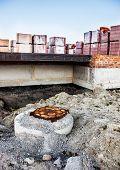 stock photo of manhole  - Construction site - JPG