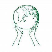image of save earth  - doodle globe in women hands - JPG