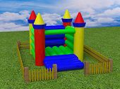 stock photo of yellow castle  - bouncy castle 3d render image colour toy - JPG