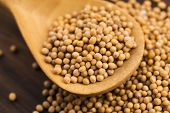 stock photo of mustard seeds  - Spicy mustard seeds in a wooden background - JPG