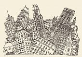 foto of hustle  - Big City Concept Architecture Engraved Illustration hand drawn sketch - JPG