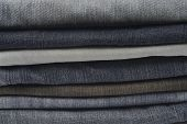image of neat  - High resolution image of blue ans black jeans stacked neatly - JPG