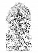 stock photo of demons  - Hindu God winning the battle with demons - JPG