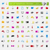 pic of veterinary  - veterinary vector sticker icons with shadow - JPG