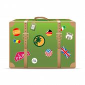 Vintage travel suitcase poster