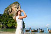 foto of tranquil  - Woman on travel beach vacation at Krabi Thailand - JPG