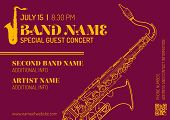Постер, плакат: Jazz Music Concert Saxophone Vertical Music Flyer Template