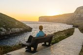 image of gozo  - Xlendi Bay at sunset in Malta situated in the south west of the island of Gozo.