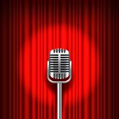 image of curtains stage  - Red curtain and stage with microphone realistic vector background - JPG