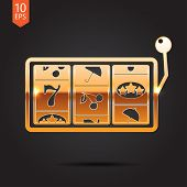 picture of raffle prize  - Vector flat golden slot icon - JPG
