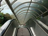 stock photo of escalator  - Close up of the escalator outside buidling - JPG