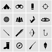 foto of duck-hunting  - Vector black hunting icon set on grey background - JPG