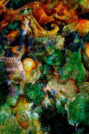 stock photo of creatures  - Emerald green elven creature in a fairy realmbeautiful colorful fantasy detailed painting - JPG
