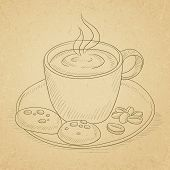 Coffee cup with biscuits and coffee beans on saucer. Coffee hand drawn on old paper vintage backgrou poster