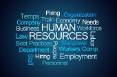Human Resources Word Cloud on Blue Background poster