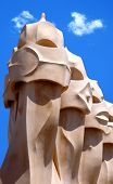 gaudhi sculptures in barcelona on the roof of la pedrera