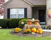 Happy and Colorful Halloween decorations welcoming visitors in front of a family home.   poster