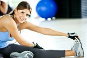 stock photo of workout-women  - beautiful woman portrat at the gym smiling - JPG