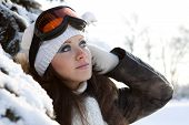 .young Woman In Ski Glasses.