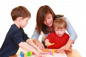 pic of finger-painting  - mother and sons  - JPG