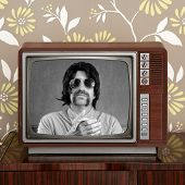 Geek Mustache Tv Presenter In Retro Wood Television poster