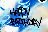 Great Graffiti tag, colorful and vibrant with Happy Birthday wording