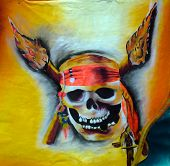 picture of treasure map  - A pirate skull design on a carnival float dealing with pirates - JPG