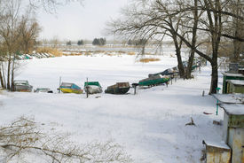 picture of flatboat  - Winter season at boating station in Ukraine - JPG