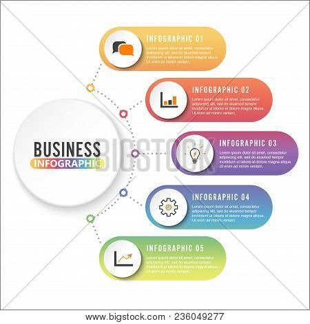 poster of Business Data Visualization. Process Chart. Abstract Elements Of Graph, Diagram With 4 Steps, Option