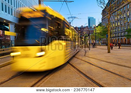 Manchester England Light Rail Yellow