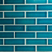 Blue contemporary glazed bathroom tile wall background poster