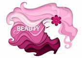 Beautiful Girl With Long Wavy Hair. Vector Illustration In Modern Paper Art Style. Beauty And Hair S poster