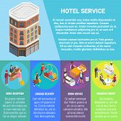 Hotel Service Vector Flat Isometric Poster, Banner With Hotel Building, Copy Space And Hotel Recepti poster