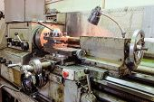 Old Classic Broom Lathe. Metalworking. Industrial Machinery. poster