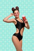 Posing Stunning Model With Red Ice Cream Horn, Wearing Fashionable Black Swimwear, Pink Sunglasses,  poster