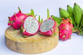 Dragon Fruit On White Background, Dragon Fruit Isolated, Healthy Fruit, Dragon Fruit And Banana On W poster