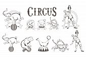 Set Of Different Circus Elements. Carnival Poster. Vintage Circus Show. Different Circus Animals. poster