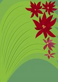 Green Background With Red Fantasy Flowers. Green Background With Red Fantasy Flowers. Gardening Flye poster