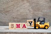Toy Forklift Hold Block Y To Complete Word 5 May On Wood Background (concept For Calendar Date For M poster