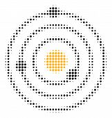 Solar System Halftone Vector Icon. Illustration Style Is Dotted Iconic Solar System Icon Symbol On A poster